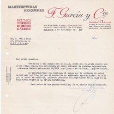 Cartas comerciales: CARTA COMERCIAL. F. GARCÍA Y CÍA. MANUFACTURAS RELOJERAS. MADRID 1958. Lote 191305252