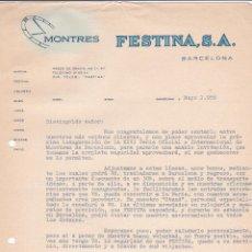 Cartas comerciales: CARTA COMERCIAL. FESTINA S.A. BARCELONA 1958. Lote 191305370