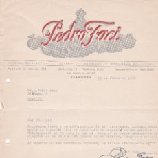 Cartas comerciales: CARTA COMERCIAL. PEDRO FACI. FÁBRICA DE PLATERÍA-JOYERÍA. ZARAGOZA 1958. Lote 191305760