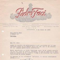 Cartas comerciales: CARTA COMERCIAL. PEDRO FACI. FÁBRICA DE PLATERÍA-JOYERÍA. ZARAGOZA 1958. Lote 191305803