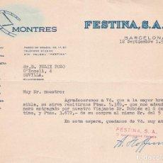Cartas comerciales: CARTA COMERCIAL. FESTINA S.A. BARCELONA 1958. Lote 191306018