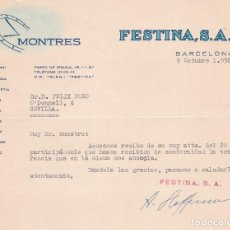 Cartas comerciales: CARTA COMERCIAL. FESTINA S.A. BARCELONA 1958. Lote 191306095