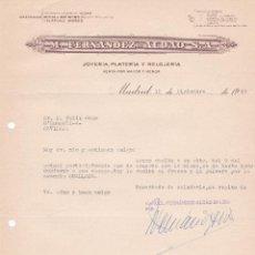 Cartas comerciales: CARTA COMERCIAL. M. FERNANDEZ- ALDAO S.A. JOYERÍA- PLATERÍA Y RELOJERÍA. MADRID 1958. Lote 191306930