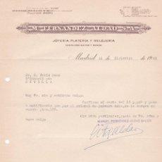 Cartas comerciales: CARTA COMERCIAL. M. FERNANDEZ- ALDAO S.A. JOYERÍA- PLATERÍA Y RELOJERÍA. MADRID 1958. Lote 191307018