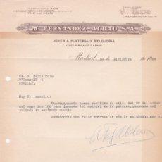 Cartas comerciales: CARTA COMERCIAL. M. FERNANDEZ- ALDAO S.A. JOYERÍA- PLATERÍA Y RELOJERÍA. MADRID 1958. Lote 191307180