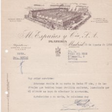 Cartas comerciales: CARTA COMERCIAL. M. ESPUÑES Y CÍA. S.A. PLATERÍA. MADRID 1958. Lote 191307921