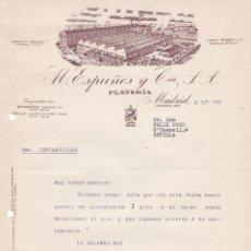 Cartas comerciales: CARTA COMERCIAL. M. ESPUÑES Y CÍA. S.A. PLATERÍA. MADRID 1958. Lote 191308042