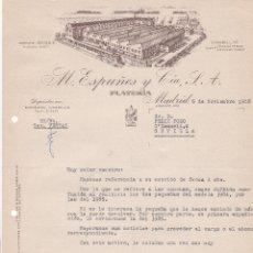 Cartas comerciales: CARTA COMERCIAL. M. ESPUÑES Y CÍA. S.A. PLATERÍA. MADRID 1958. Lote 191308142