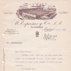 Cartas comerciales: CARTA COMERCIAL. M. ESPUÑES Y CÍA. S.A. PLATERÍA. MADRID 1958. Lote 191308240