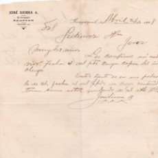 Lettres commerciales: CARTA COMERCIAL. JOSÉ SIERRA A. GUAYAQUIL. ECUADOR 1908. Lote 191519673