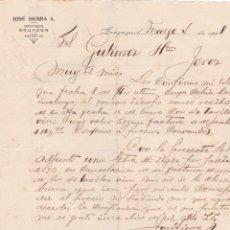 Lettres commerciales: CARTA COMERCIAL. JOSÉ SIERRA A. GUAYAQUIL. ECUADOR 1908. Lote 191520121