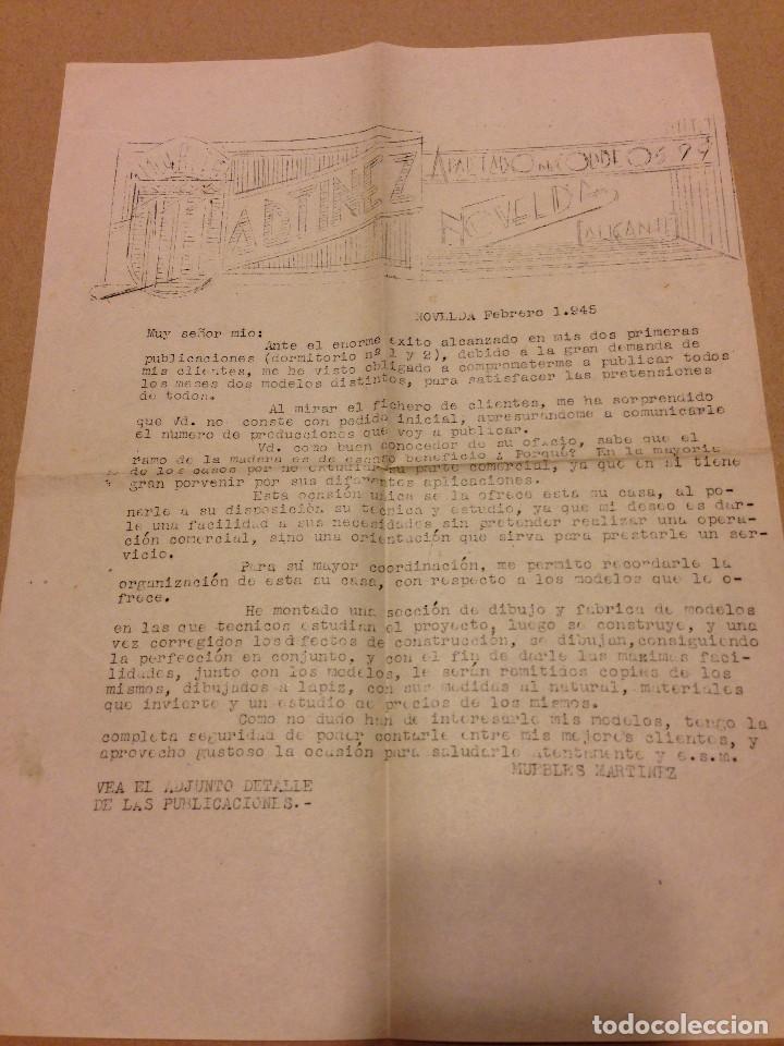 CARTA PUBLICITARIA DE MUEBLES MARTINEZ.NOVELDA.ALICANTE.AÑO 1945 (Coleccionismo - Documentos - Cartas Comerciales)