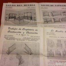 Cartas comerciais: IMPRESO PUBLICIDAD DE MADERAS,MUEBLES,LIBRERIA CENTRAL.SALON DEL MUEBLE .AÑOS 40. Lote 192291337