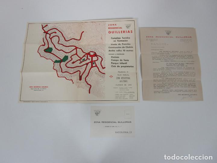 CARTA COMERCIAL, TARJETA POSTAL PUBLICITARIA Y MAPA - ZONA RESIDENCIAL GUILLERIAS, VILANOVA DE SAU (Coleccionismo - Documentos - Cartas Comerciales)