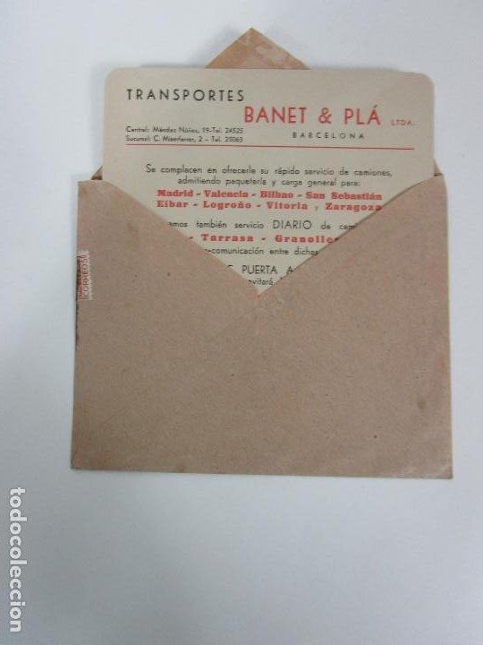 CARTA Y SOBRE COMERCIAL - IMPRESOS - TRANSPORTES BANET & PLA, BARCELONA - PUERTA A PUERTA (Coleccionismo - Documentos - Cartas Comerciales)