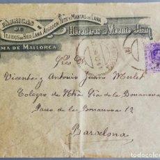 Lettres commerciales: CARTA Y SOBRE - 1912 - HDOS. DE VICENTE JUAN - SOBRE CON PLANO DE PALMA (MALLORCA). Lote 192936621
