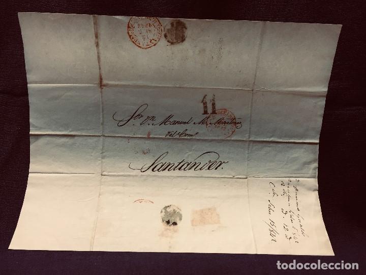 ANTIGUA CARTA COMERCIAL DE BARCELONA A CASTANDA SANTANDER SIN SELLO SEPT 1842 (Coleccionismo - Documentos - Cartas Comerciales)