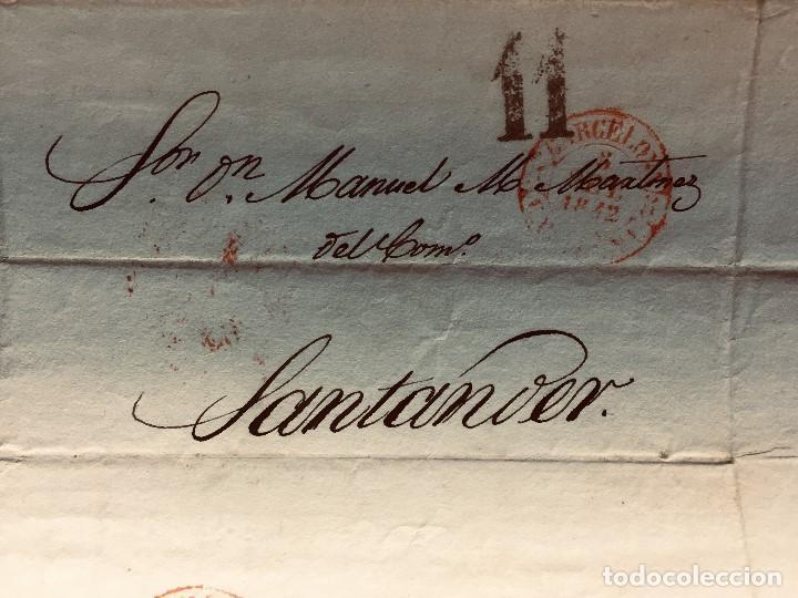 Cartas comerciales: ANTIGUA CARTA COMERCIAL DE BARCELONA A CASTANDA SANTANDER SIN SELLO SEPT 1842 - Foto 4 - 192985501