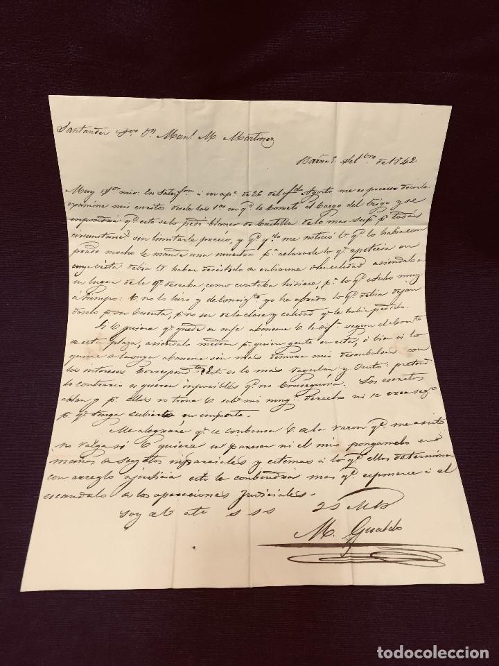 Cartas comerciales: ANTIGUA CARTA COMERCIAL DE BARCELONA A CASTANDA SANTANDER SIN SELLO SEPT 1842 - Foto 6 - 192985501