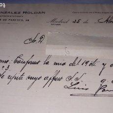 Cartas comerciales: LUIS GONZÁLEZ ROLDÁN CARTA REPRESENTACIONES MADRID ENCARGO MESÓN DE PAREDES CUENTA BANCO HISPANOAMER. Lote 193114442
