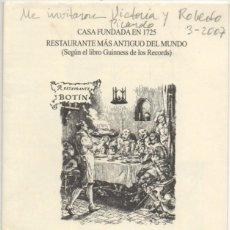 Cartas comerciales: CARTAMENU RESTAURANTE BOTIN. MADRID CARTAMENU-206. Lote 193900130