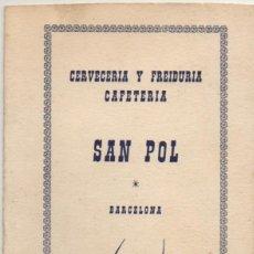 Cartas comerciales: CARTAMENU CERVECERIA Y FREIUDURIA -CAFETERIA SAN POL-. BARCELONA CARTAMENU-207. Lote 193900740