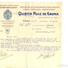 Cartas comerciales: CARTA COMERCIAL FABRICACION CHOCOLATES QUINTIN RUIZ DE GAUNA. VITORIA. ALAVA AÑO 1912. Lote 193997457