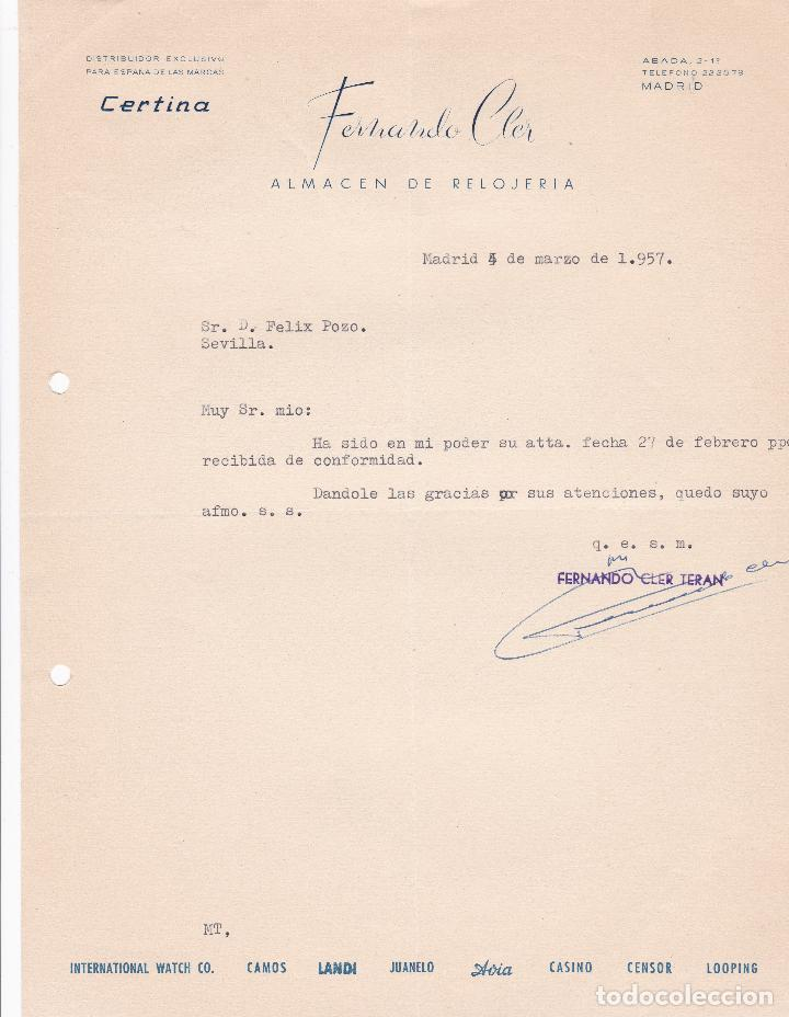 CARTA COMERCIAL. FERNANDO CLER. ALMACEN DE RELOJERÍA. MADRID 1957 (Coleccionismo - Documentos - Cartas Comerciales)