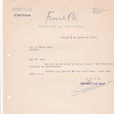 Cartas comerciales: CARTA COMERCIAL. FERNANDO CLER. ALMACEN DE RELOJERÍA. MADRID 1957. Lote 194354340