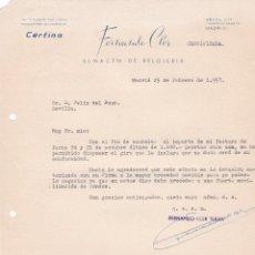 Cartas comerciales: CARTA COMERCIAL. FERNANDO CLER. ALMACEN DE RELOJERÍA. MADRID 1957. Lote 194354360