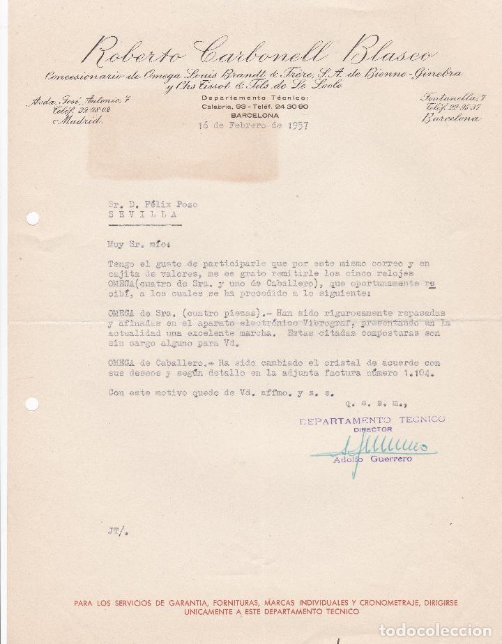 CARTA COMERCIAL. ROBERTO CARBONELL BLASCO. CONCESIONES. BARCELONA 1957 (Coleccionismo - Documentos - Cartas Comerciales)