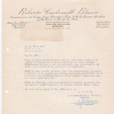 Cartas comerciales: CARTA COMERCIAL. ROBERTO CARBONELL BLASCO. CONCESIONES. BARCELONA 1957. Lote 194354391