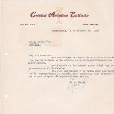 Cartas comerciales: CARTA COMERCIAL. CRISTAL ARTÍSTICO TALLADO. BARCELONA 1957. Lote 194354431