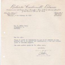 Cartas comerciales: CARTA COMERCIAL. ROBERTO CARBONELL BLASCO. CONCESIONES. BARCELONA 1957. Lote 194354503