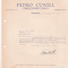 Cartas comerciales: CARTA COMERCIAL. PEDRO CUNILL. FÁBRICA DE ORFEBRERÍA Y CUBIERTOS. BARCELONA 1957. Lote 194354555
