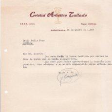 Cartas comerciales: CARTA COMERCIAL. CRISTAL ARTÍSTICO TALLADO. BARCELONA 1957. Lote 194354615