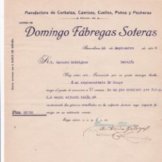 Cartas comerciales: CARTA COMERCIAL. DOMINGO FÁBREGAS SOTERAS. MANUFACTURA DE CORBATAS, CAMISAS... BARCELONA 1916. Lote 194384405