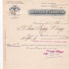Cartas comerciales: CARTA COMERCIAL. DOMINGO FÁBREGAS SOTERAS. MANUFACTURA DE CORBATAS, CAMISAS... BARCELONA 1916. Lote 194384543
