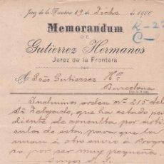 Cartas comerciales: MEMORANDUM. GUTIERREZ HETRMANOS. JEREZ DE LA FRONTERA 1900. Lote 194384792