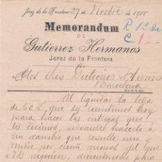 Cartas comerciales: MEMORANDUM. GUTIERREZ HETRMANOS. JEREZ DE LA FRONTERA 1900. Lote 194384906
