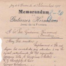 Cartas comerciales: MEMORANDUM. GUTIERREZ HETRMANOS. JEREZ DE LA FRONTERA 1900. Lote 194385217