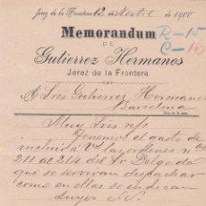 Cartas comerciales: MEMORANDUM. GUTIERREZ HETRMANOS. JEREZ DE LA FRONTERA 1900. Lote 194385358