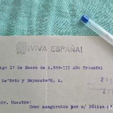 Cartas comerciales: CASINO VIGO..III AÑO TRINFAL..GUERRA CIVIL..27 ENERO 1939. Lote 194604135