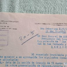 Cartas comerciales: COMPAÑIA ESPAÑOLA DE ELECTRICIDAD Y GAS LEBON S.A..GUERRA CIVIL..BURGOS, SAN SEBASTIAN..17-05-1939. Lote 194604708