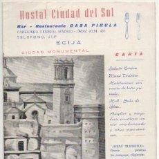 Cartas comerciales: CARTAMENU HOSTAL CIUDAD DEL SOL. RESTAURANTE CASA PIRULA. ECIJA CARTAMENU-204,2. Lote 194690095