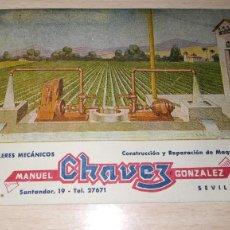 Cartas comerciales: TARJETA TALLERES MECANICOS MANUEL CHAVEZ GONZALEZ, SEVILLA. Lote 194733537