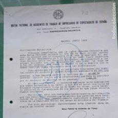 Cartas comerciales: DOCUMENTO DE MUTUA PATRONAL DE ACCIDENTES DE TRABAJO DE EMPRESARIOS DE ESPECTACULOS AÑO 1969. Lote 194740858