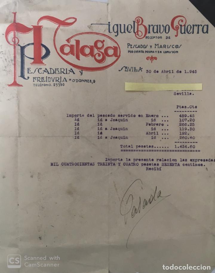 CARTAS COMERCIALES PESCADOS Y MARISCO BRAVO GUERRA . SEVILLA AÑO 1945 (Coleccionismo - Documentos - Cartas Comerciales)