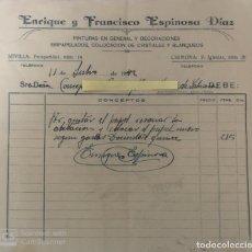 Cartas comerciales: CARTAS COMERCIALES PINTURAS Y DECORACIÓN ESPINOSA DÍAZ EN SEVILLA Y CHIPIONA ( CÁDIZ ) . AÑO 1942. Lote 194782122