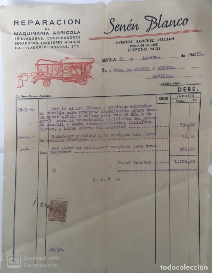 CARTAS COMERCIALES MAQUINARIA AGRÍCOLA SENÉN BLANCO . SEVILLA AÑO 1951 (Coleccionismo - Documentos - Cartas Comerciales)